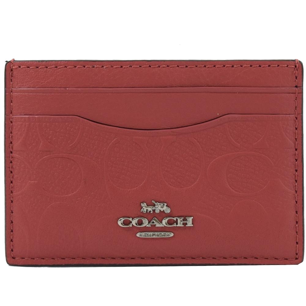COACH 金屬LOGO立體C字牛皮簡易式卡片夾層(紅)