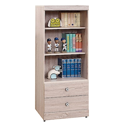 綠活居 辛克時尚2尺木紋二抽三格書櫃/收納櫃-60x39x149cm-免組