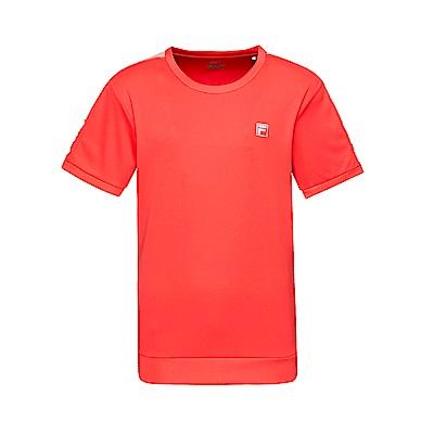 FILA 男款抗UV吸濕排汗T恤-桔紅 1TET-1303-OR