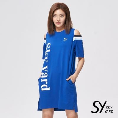 【SKY YARD 天空花園】露肩剪裁雙口袋印花洋裝-藍色