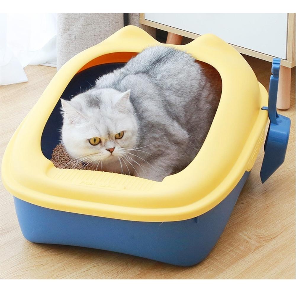 有喵病 貓耳造型半罩單層貓砂盆(大)附貓鏟