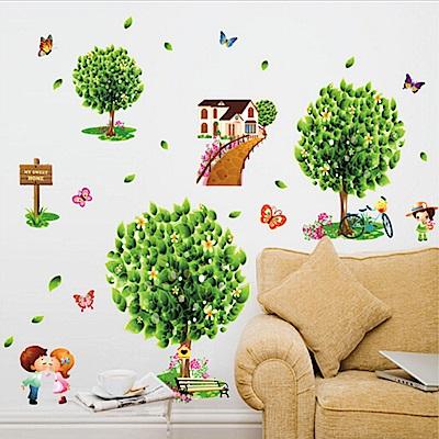 半島良品 DIY無痕壁貼-綠色家園樹 AY7272 50x70cm