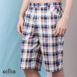 oillio歐洲貴族 超柔透氣純棉短褲 經典格紋 白色