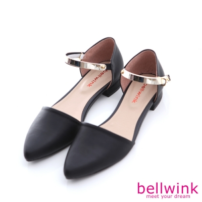 bellwink金屬亮面尖頭平底鞋-黑色-b9808bk