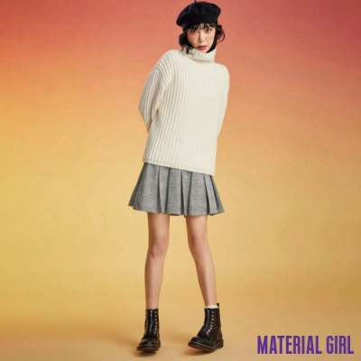MATERIAL GIRL 經典黑白千鳥格紋百褶裙【84314】