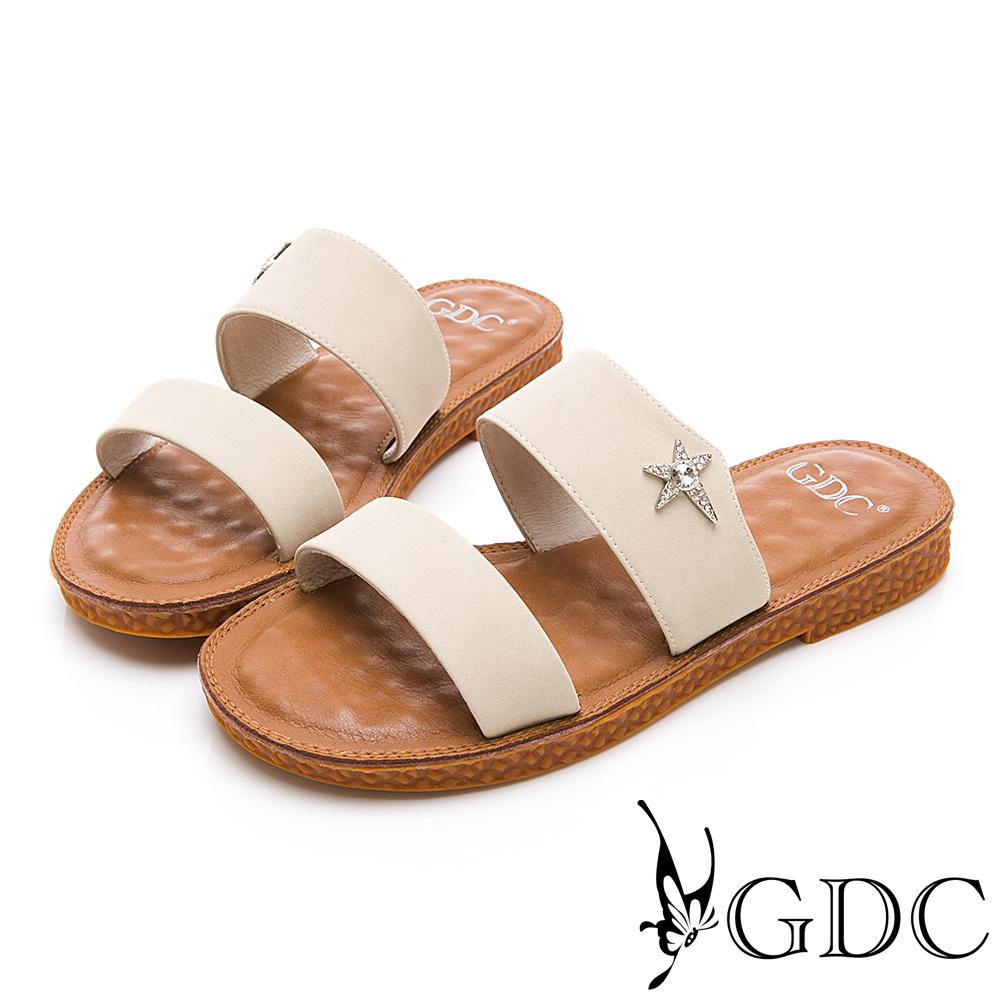 GDC-超Q軟底星星扣飾小清新可愛一字拖鞋春夏-米色