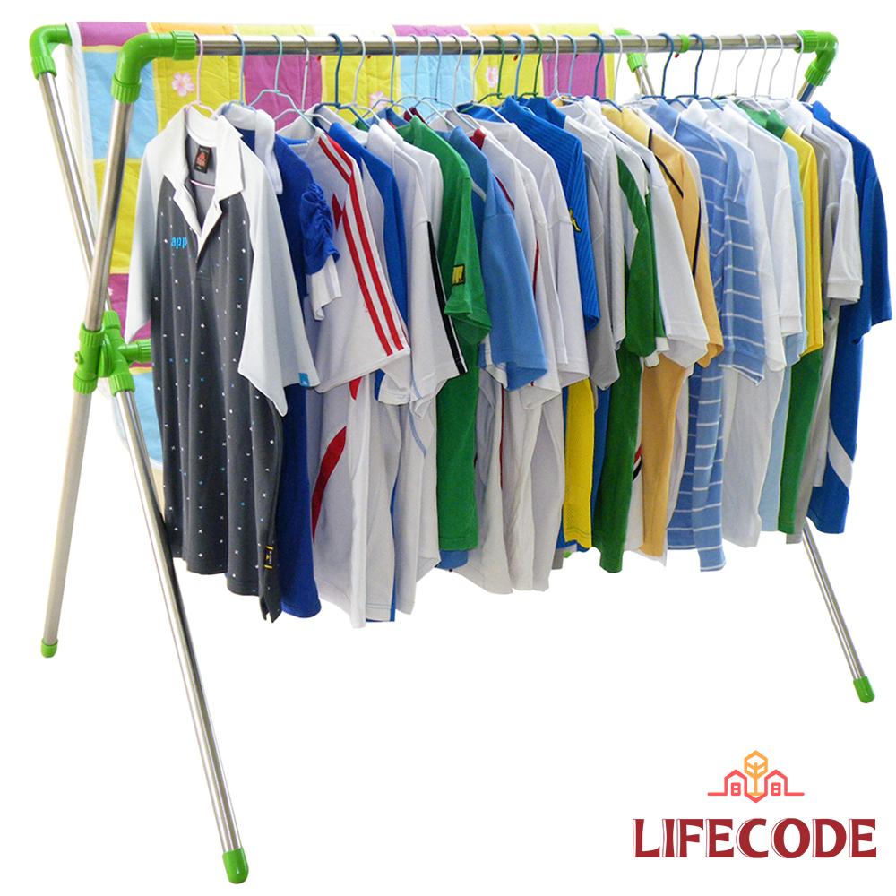 LIFECODE 免螺絲超大可伸縮X型曬衣架 (果綠色)_送20個防風掛勾
