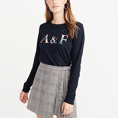麋鹿 AF A&F 經典刺繡文字設計長袖T恤(女)-深藍色