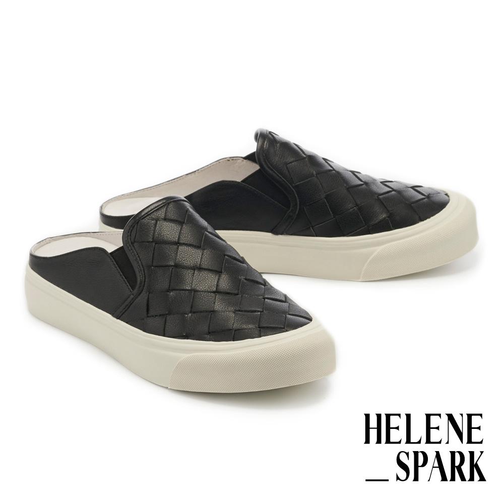 拖鞋 HELENE SPARK 率性日常全真皮編織厚底休閒拖鞋-黑