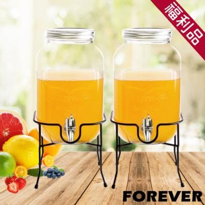 (福利品)2入組 日本FOREVER 夏天必備派對玻璃果汁飲料桶(含桶架)4L