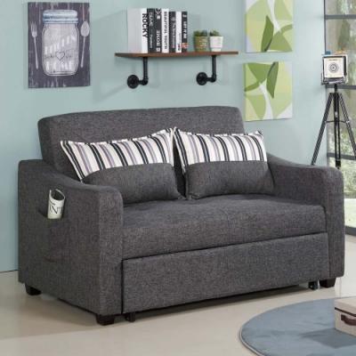 文創集 賓娜現代灰棉麻布二人沙發/沙發床(拉合式機能設計)-150x90x93cm免組