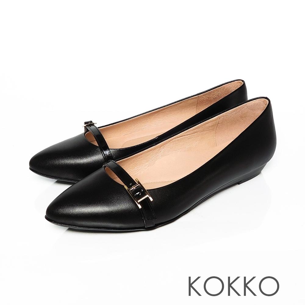 KOKKO -秀氣小飾帶楔型微增高-霸氣黑