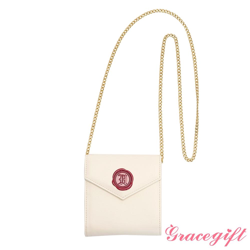 Grace gift-哈利波特霍格華茲信封2WAY卡夾鍊條包 米白