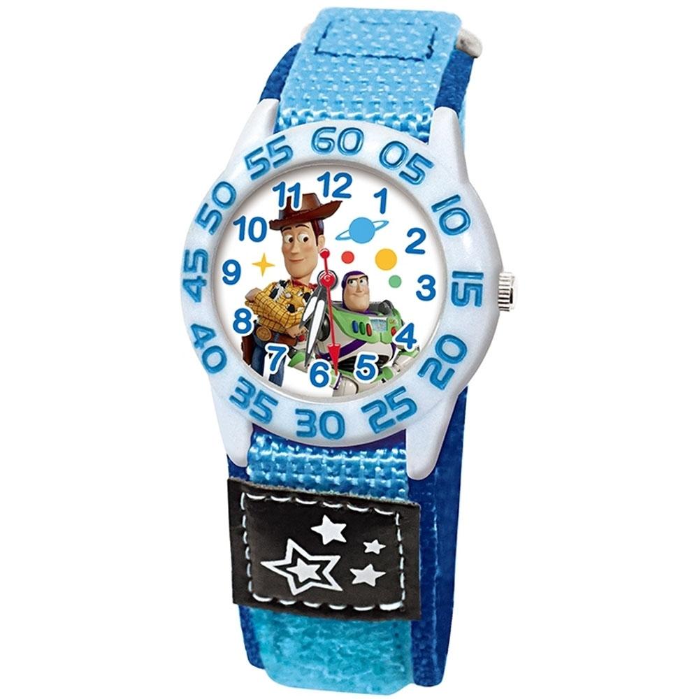 DISNEY迪士尼 Toy Story玩具總動員休閒織帶手錶 胡迪 巴斯光年33mm白殼