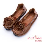 2.Maa - 莊嚴復古玫瑰造型牛皮娃娃鞋 - 棕
