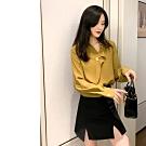 2F韓衣-韓系不對襯領鈕扣造型上衣-新-黃(S-XL)