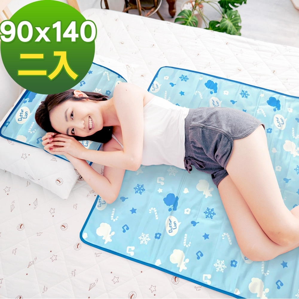 奶油獅-雪花樂園-長效型降6度涼感冰砂冰涼墊/單人雙人床墊90x140cm-藍色(二入)