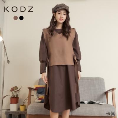 東京著衣-KODZ 秋氛時尚V領側釦帶背心兩件式洋裝(共二色)