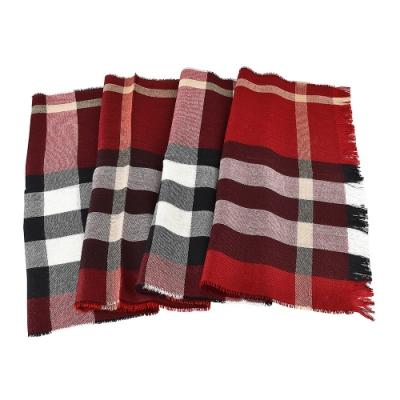 BURBERRY格紋造型輕盈羊毛蠶絲圍巾(遊行紅x黑白條紋)