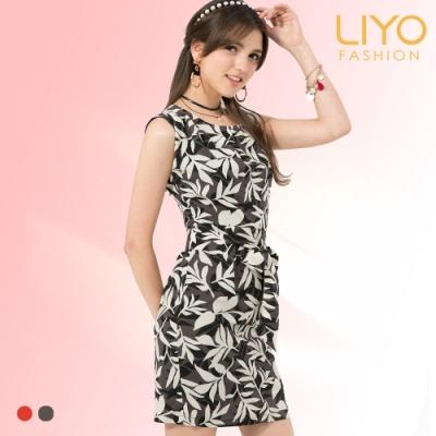 LIYO理優MIT印花繫腰雪紡洋裝(橘,灰)
