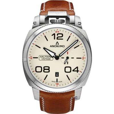 ANONIMO Militare 義式軍風機械腕錶-蛋殼白x銀色/43.4mm