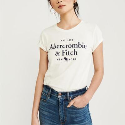 麋鹿 AF A&F 年度熱銷經典文字大麋鹿短袖T恤(女)-米白色