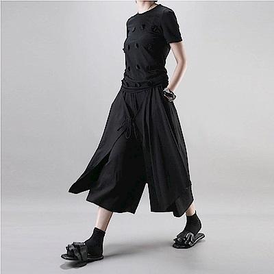 假倆件寬鬆休閒七分裙褲垮褲-設計所在 MP1796