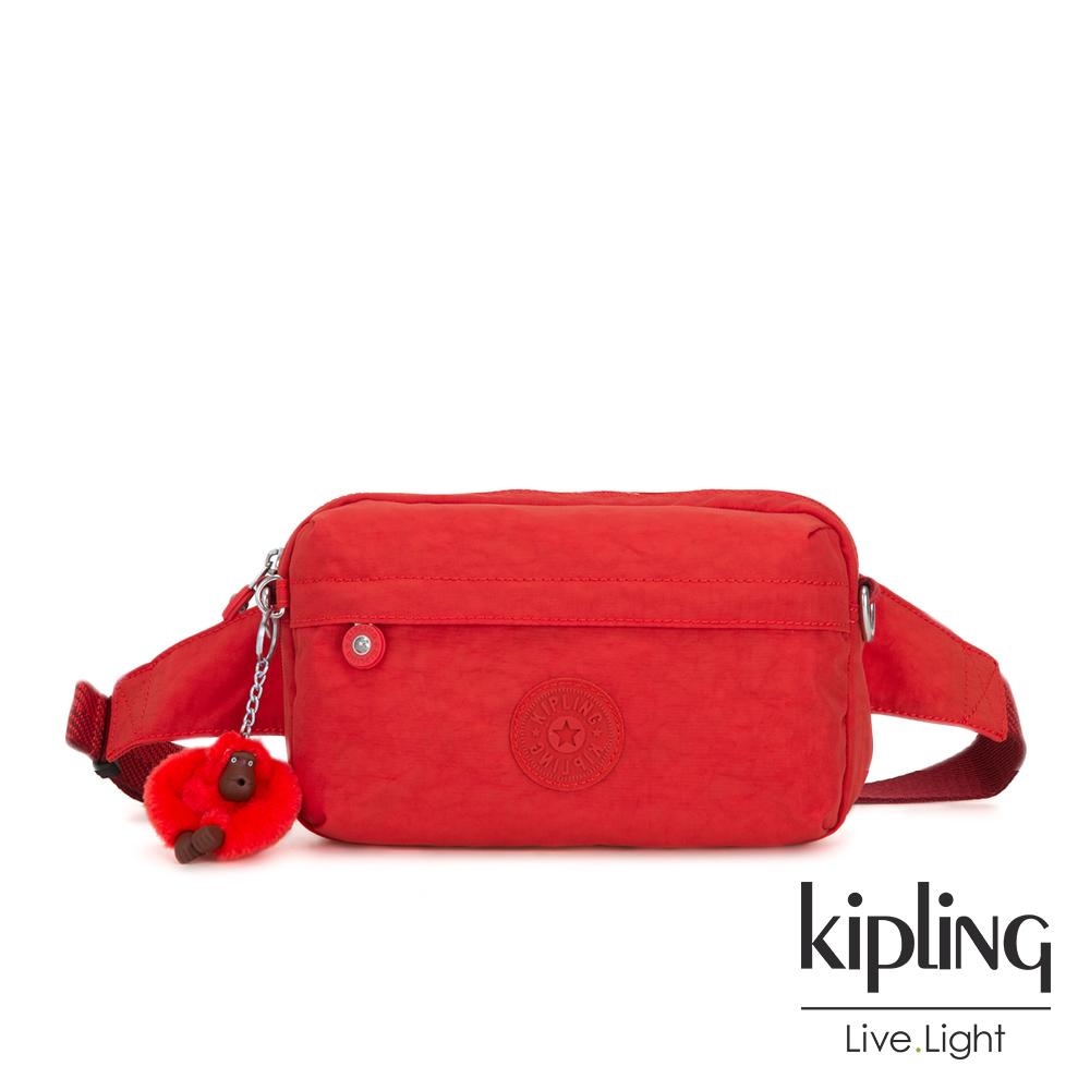 Kipling 珊瑚紅素面方形腰包-HALIMA