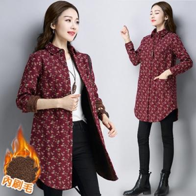 【韓國K.W.】小花襯衫內刷毛上衣外套-1色