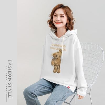 2F韓衣-連帽玩偶小熊精梳棉印花上衣-5色(M-2XL)
