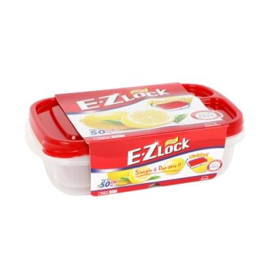 樂扣樂扣 EZ LOCK長型PP保鮮盒/965ML/2入(紅蓋)(快)