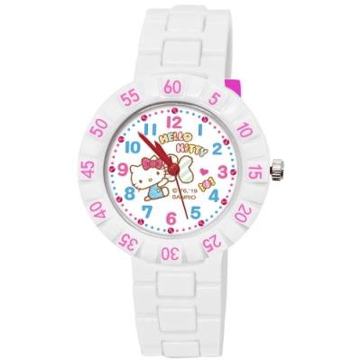 Sanrio三麗鷗 數字轉圈系列手錶 Hello Kitty時髦凱蒂貓34mm白色