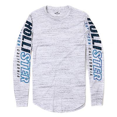 海鷗 Hollister 經典文字印刷設計長袖T恤-麻花灰色