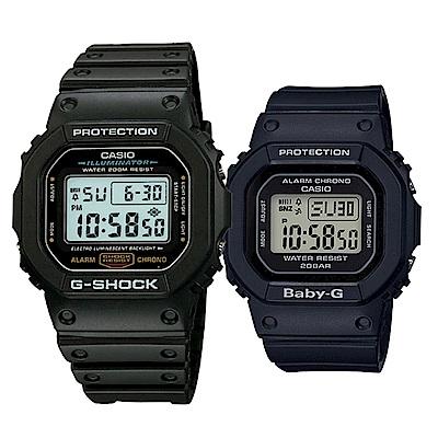 CASIO復刻經典百搭休閒情侶組合錶-黑-(DW-5600E-1+BGD-560-1)