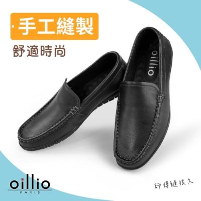oillio歐洲貴族 男鞋 手工縫製 頭層牛皮 輕量休閒皮鞋 精品皮鞋
