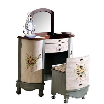 Asllie維妮手工彩繪化妝桌椅組(綠)-91x42x80cm