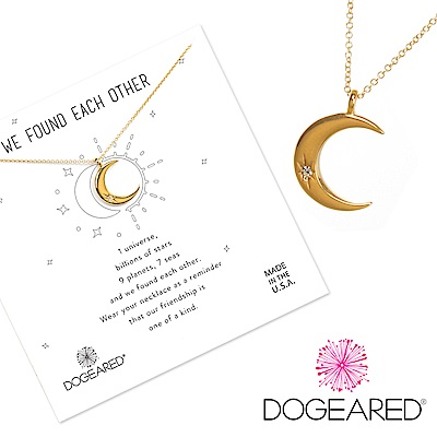 Dogeared crescent moon 鑲鑽金色月亮項鍊 照亮我心 附原廠盒