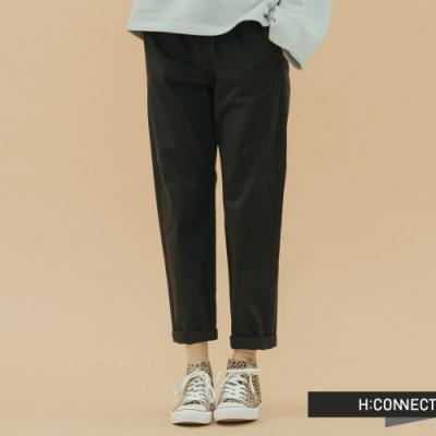 H:CONNECT 韓國品牌 女裝 -休閒鬆緊綁帶直筒褲-黑(快)