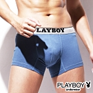 PLAYBOY MIT素面棉感低腰平口褲 四角褲-單件(藍)