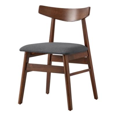 文創集 貝希卡北歐風棉麻布實木餐椅(純粹木語系列)-52x51.5x75cm免組
