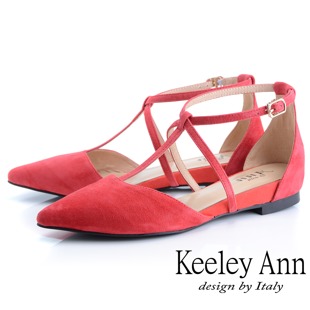 Keeley Ann慵懶盛夏 全真皮交叉帶尖頭麂皮包鞋(紅色-Ann系列)