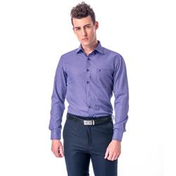 金‧安德森 紫格白線門襟斜格窄版長袖襯衫