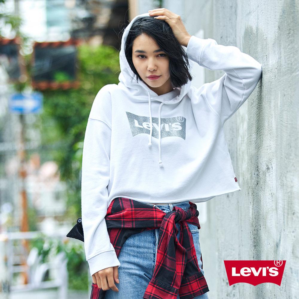 Levis 女款 短版帽T 亮粉Logo