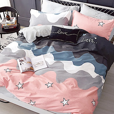 La Lune 100%40支寬幅台灣製精梳純棉雙人床包枕套三件組 童話城堡