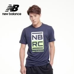 【New Balance】NB ICEX 印花短袖_男性_深藍_AMT01235