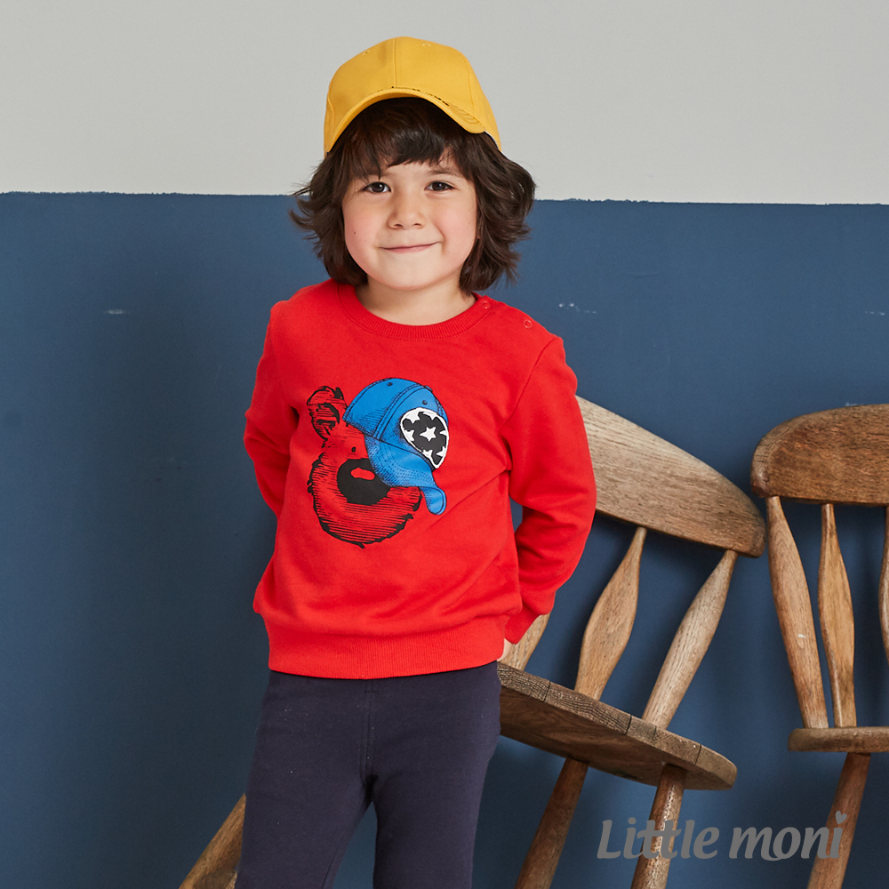 Little moni 圓領印圖毛圈上衣(共2色)
