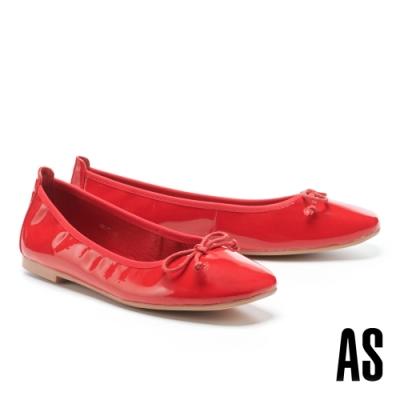 平底鞋 AS 質感時尚蝴蝶結牛漆皮方頭平底鞋-紅