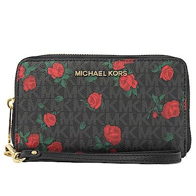 MICHAEL KORS JET SET 花朵圖樣PVC對開式手掛中夾(黑灰)