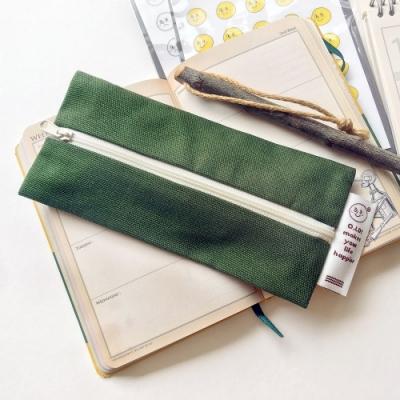 oh lolly day 純色復古帆布筆袋V1-森林綠