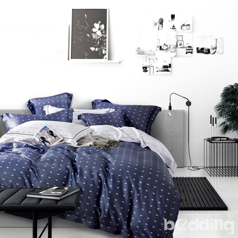 BEDDING-100%天絲萊賽爾-加大薄床包枕套三件組-一粒落塵-藍